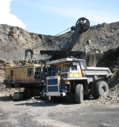 Mining dump truck BELAZ-75450 with payload capacity of 45 tonnes