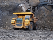 Mining dump truck BELAZ-75137 with payload capacity of 130-136 tonnes