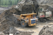 Mining dump truck BELAZ-75171 with payload capacity of 154-160 tonnes