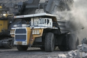 Mining dump truck BELAZ-75600 with payload capacity of 320 tonnes